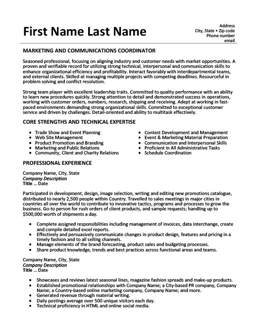 marketing and communications coordinator resume template premium