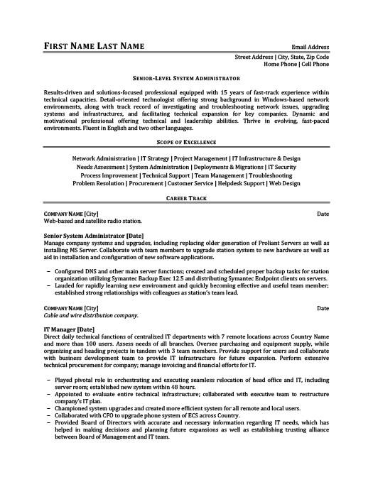 senior level system administrator resume template premium resume