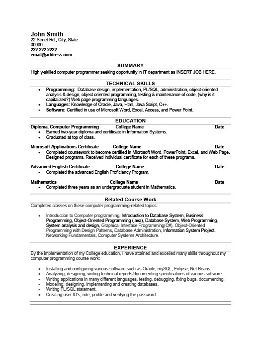 computer programmer resume templates resume objective for web