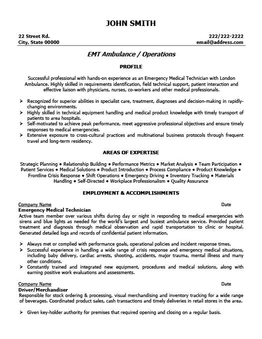 emergency medical technician resume template premium resume