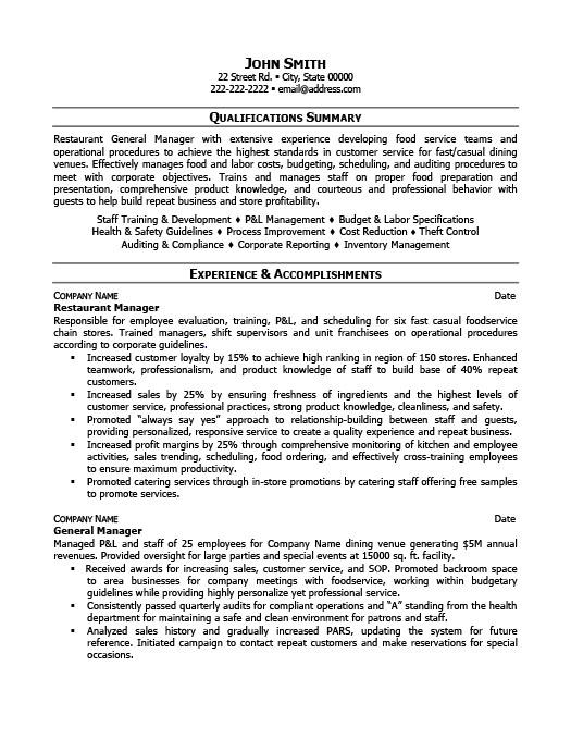 Restaurant Bar Resume Samples. Restaurant Assistant Manager Resume