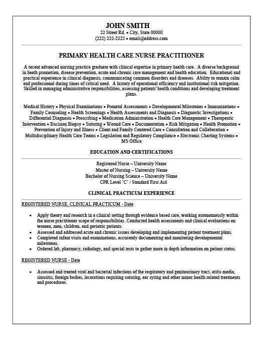 Nurse Practitioner Resume Sample. Nurse Practitioner Resume