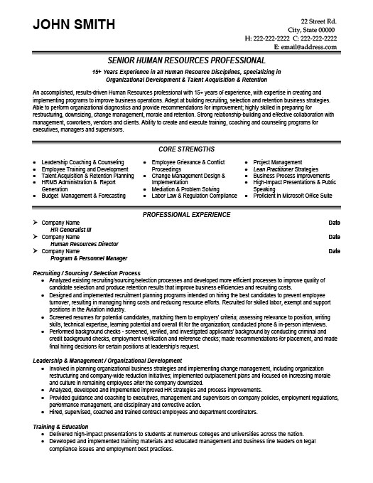 professional resume summary for human resource generalist zattnh