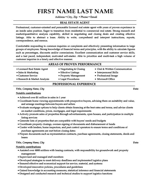 real estate agent resume template premium resume samples amp example