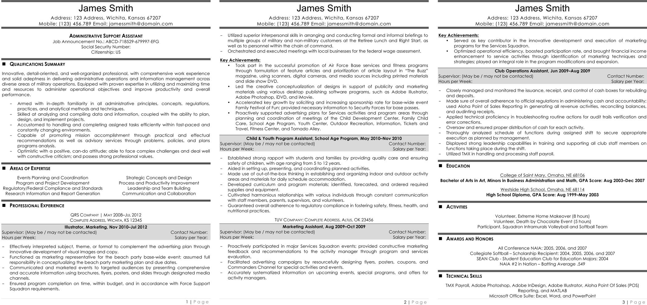 administrative support assistant resume administrative support