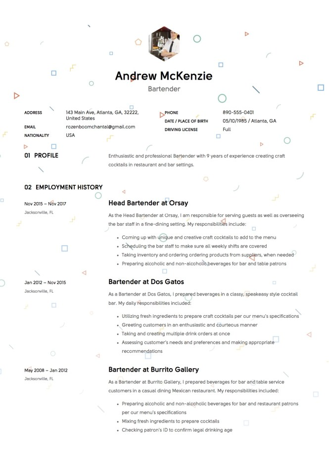 Example Bartender Resume - Resume Sample