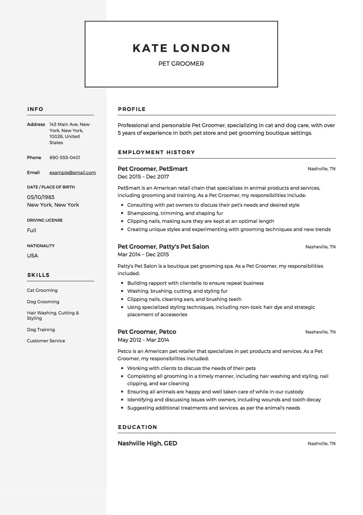 Ilmu Pengetahuan 8 Dog Groomer Resume Cover Letter