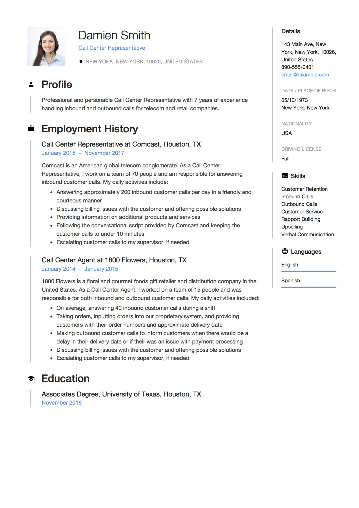 Call Center Customer Service Resume Examples