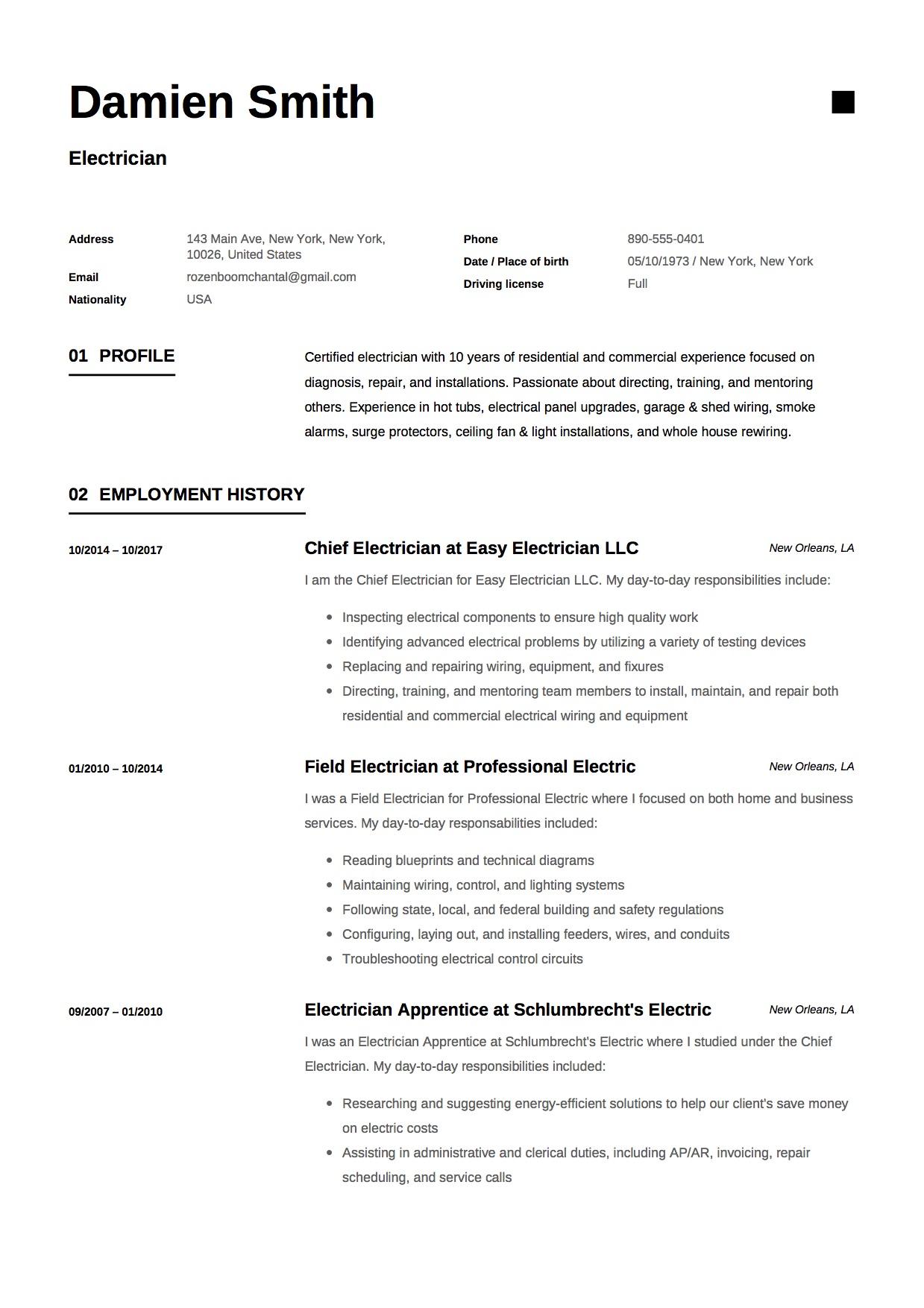 Curriculum Vitae For Electrician
