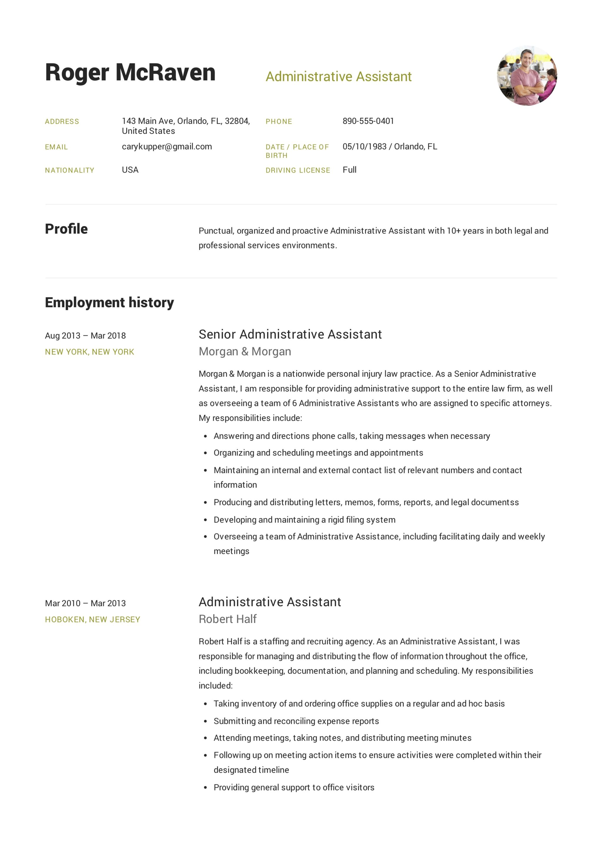 Resume Format For Executive Assistant