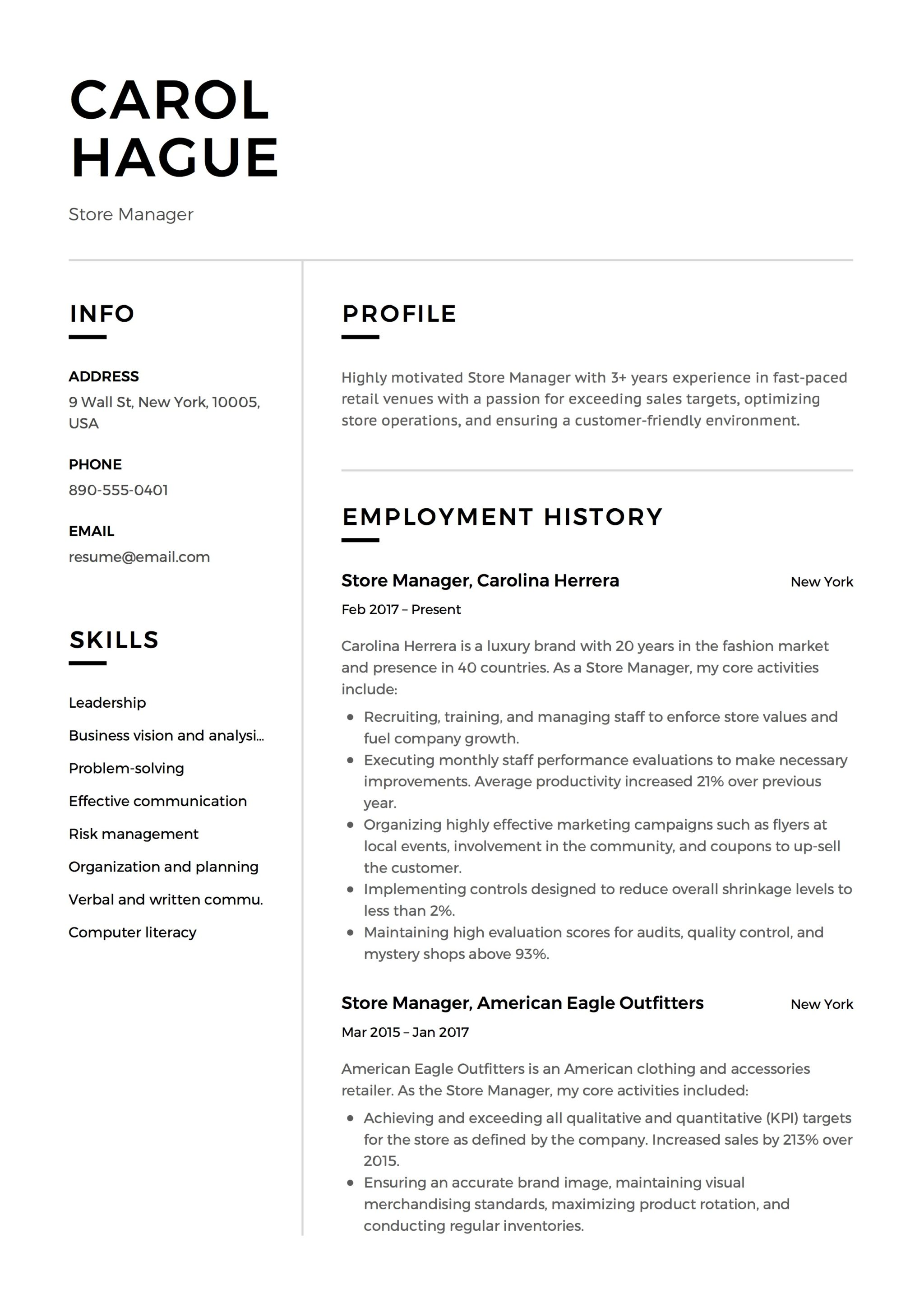 Store Manager Resume Guide Amp 12 Resume Samples