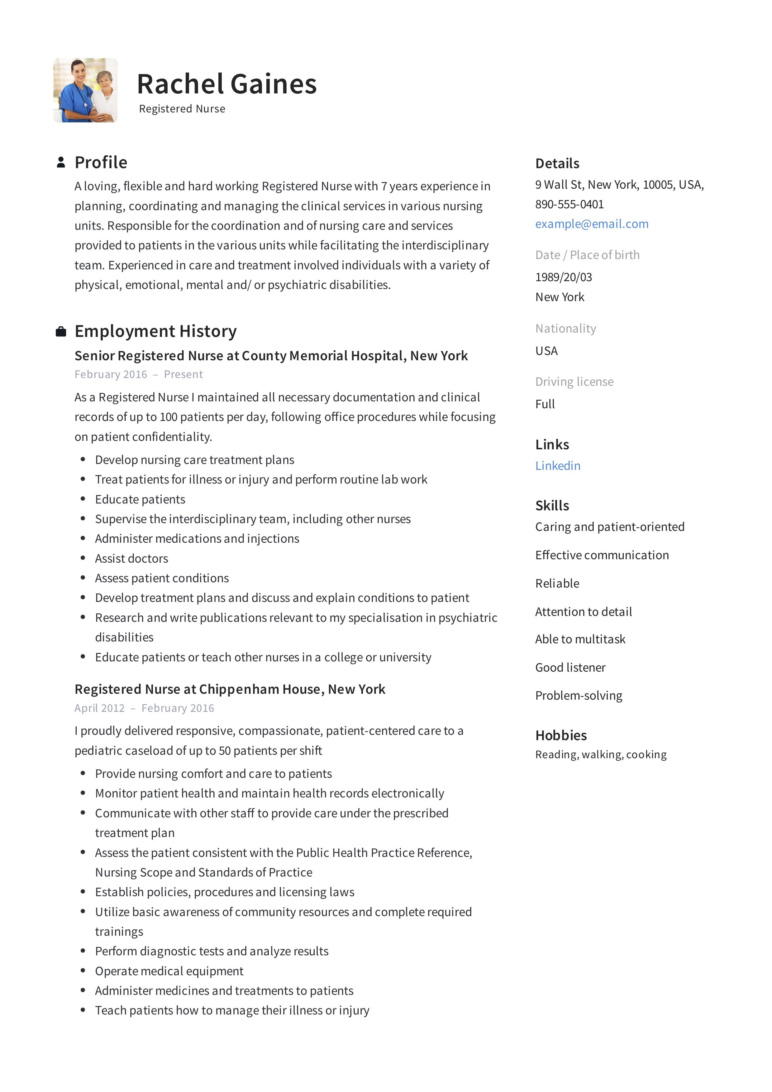Registered Nurse Resume Sample Amp Writing Guide