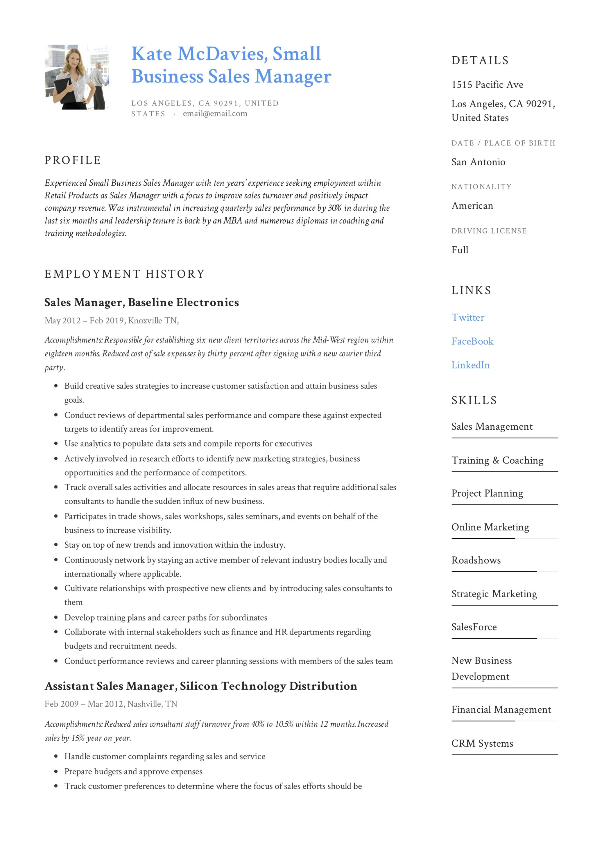 Guide Small Business Sales Manager Resume X12 Sample