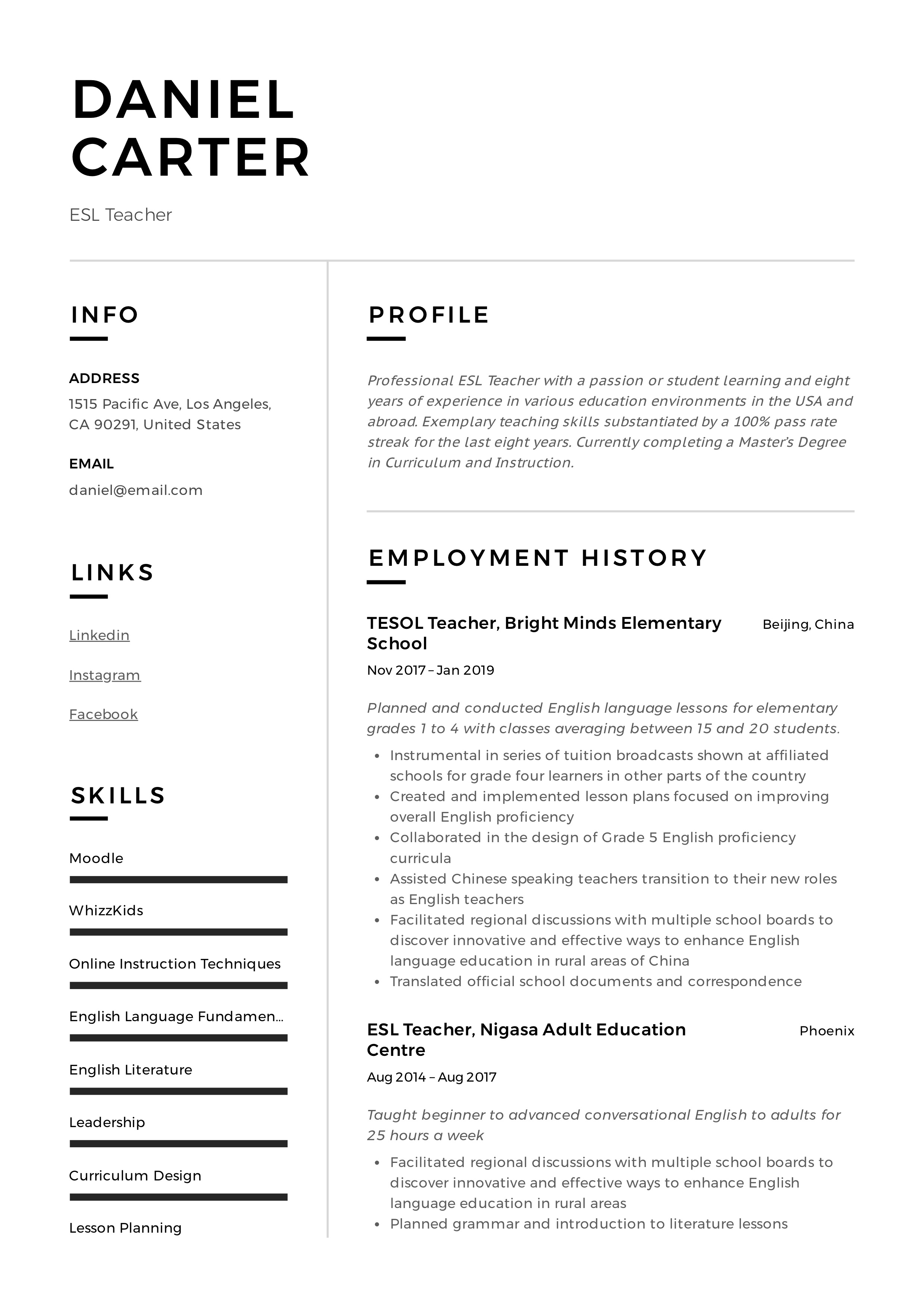 Esl Teacher Resume Sample Amp Writing Guide
