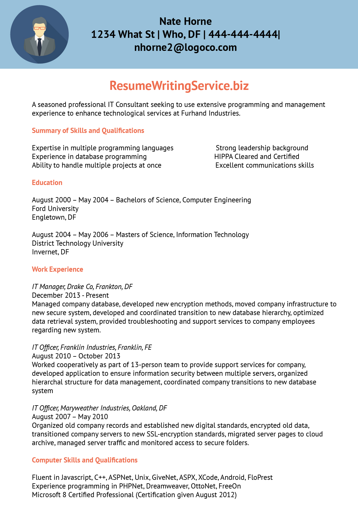 information technology consultant resume sample resume writing