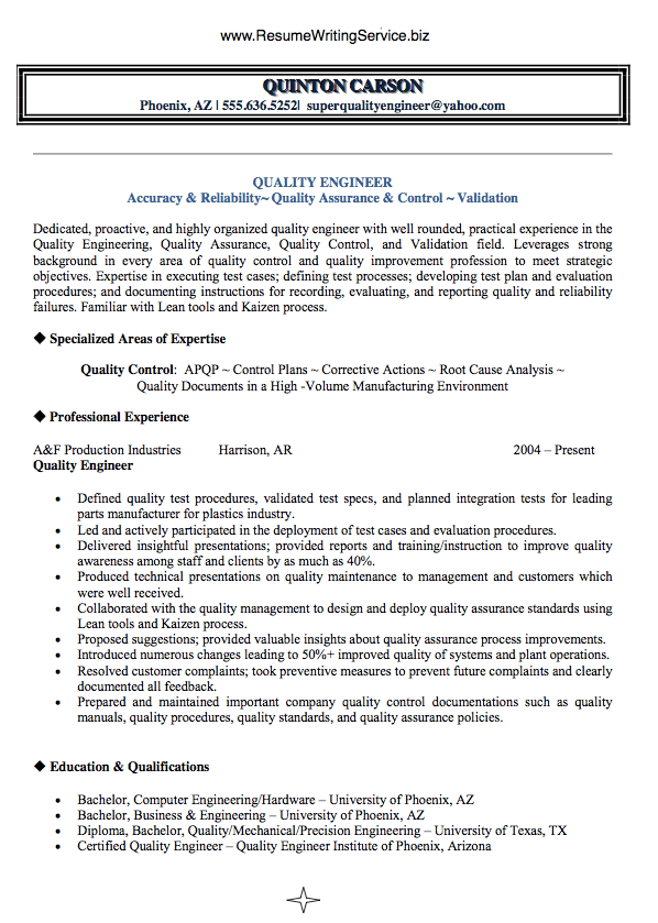 Summary For Resume Examples Quality Engineer Resume Qualities