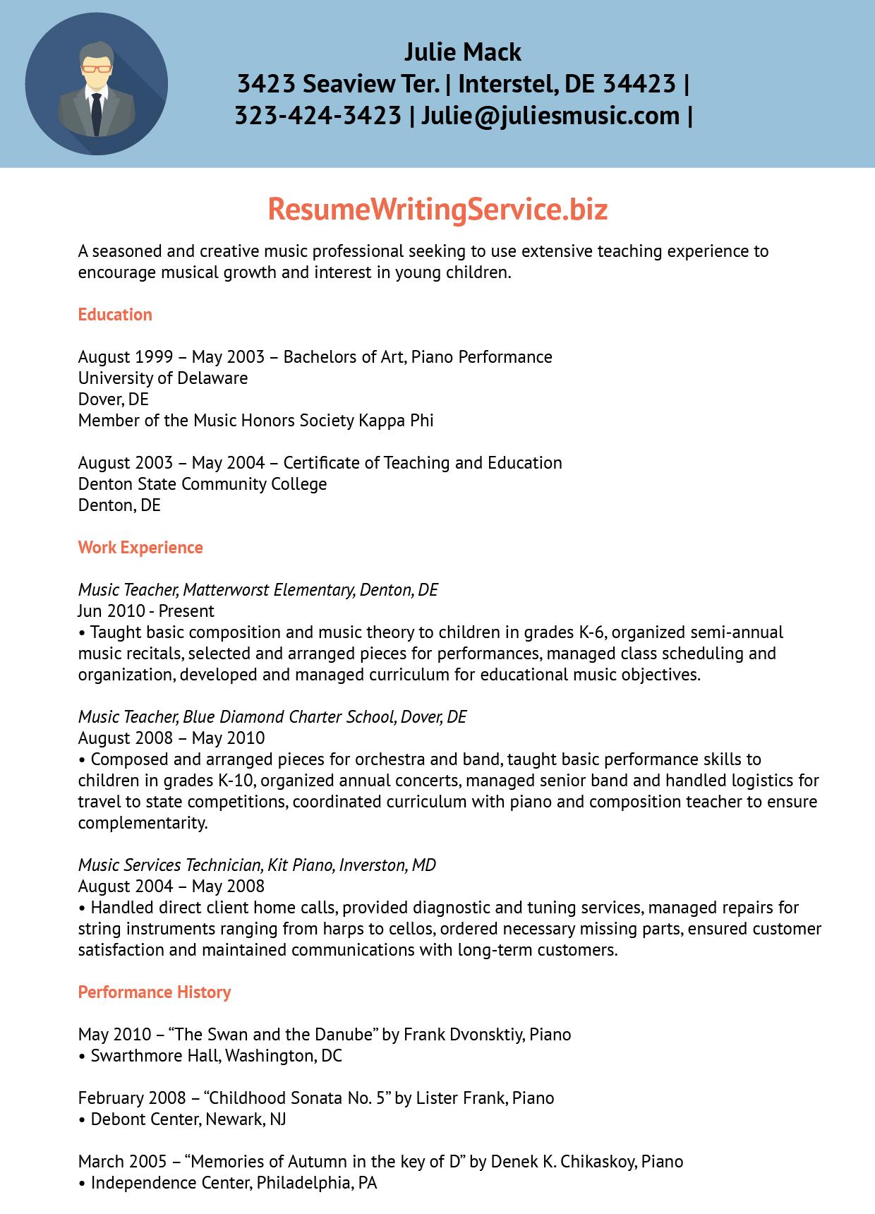 Music Teacher Resume Sample Resume Writing Service