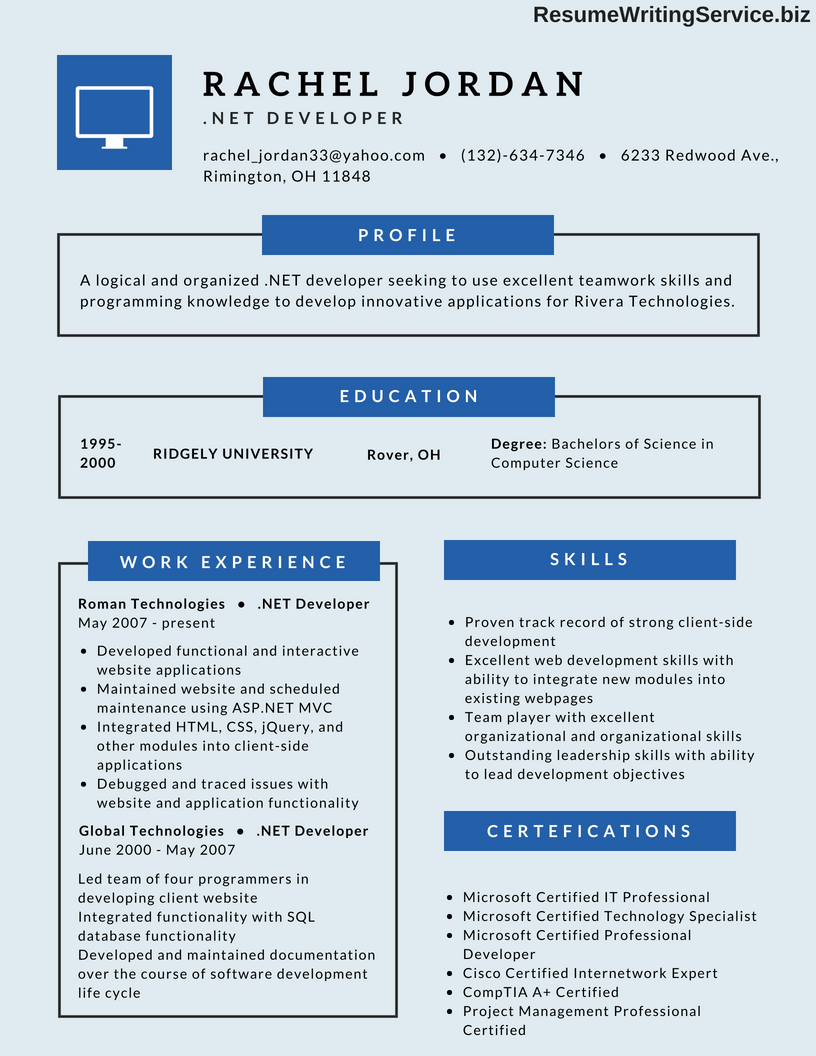 Net Developer Resume To Get You Hired