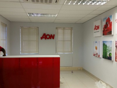 Aon signage and canvas