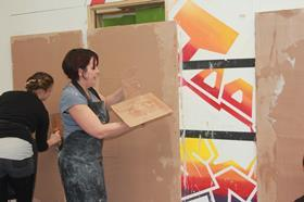 Liz Morrell at a recent B&Q plastering class
