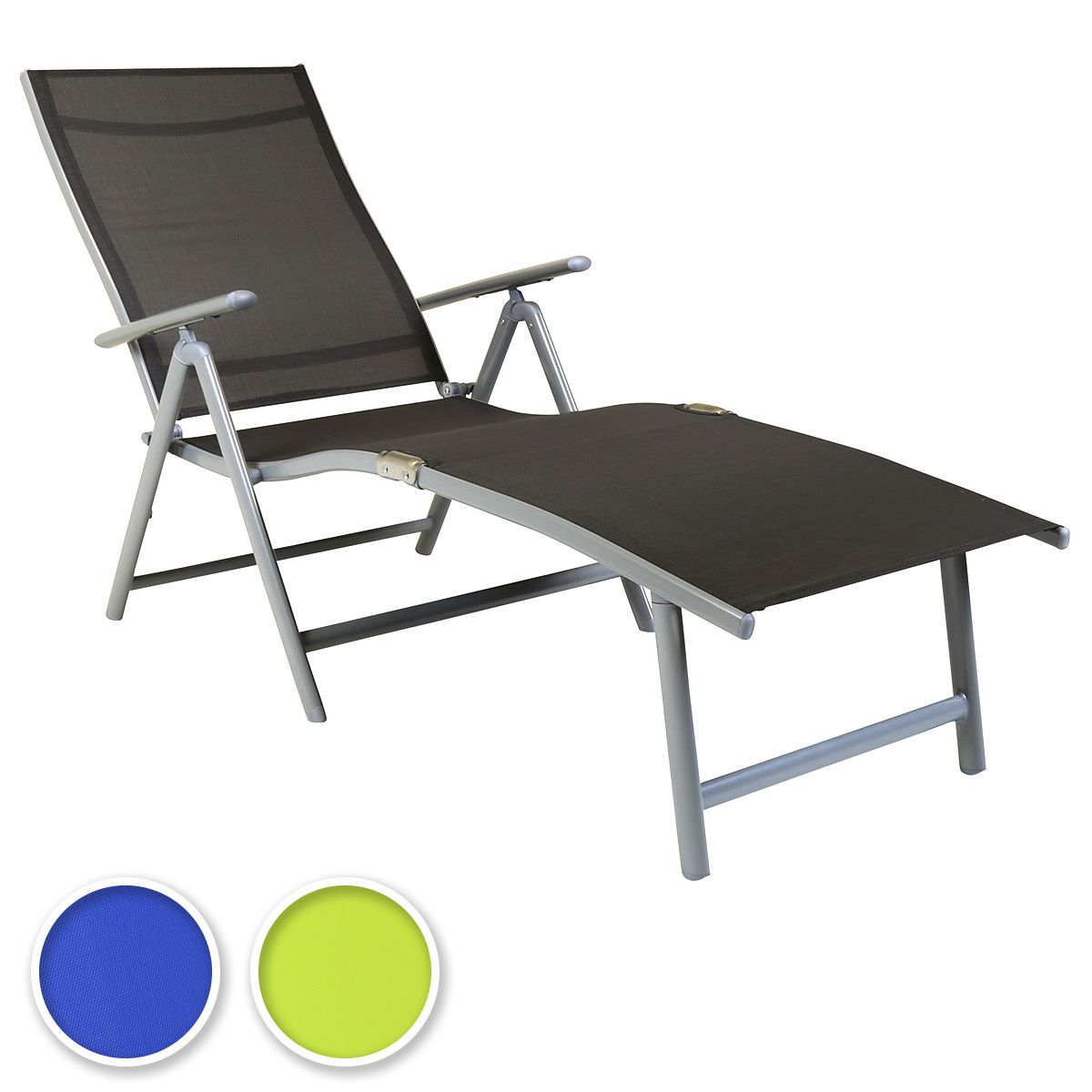 Charles Bentley Foldable Textilene Sun Lounger 7 Position Space Saving Grey