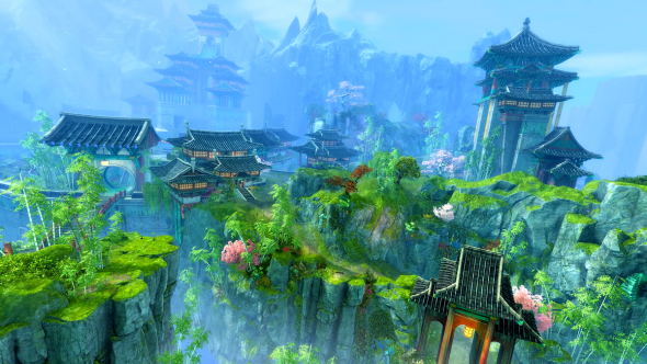 An in-game screenshot from End of Dragons, showing Canthan buildings, rocky cliffs, and bright foliage.