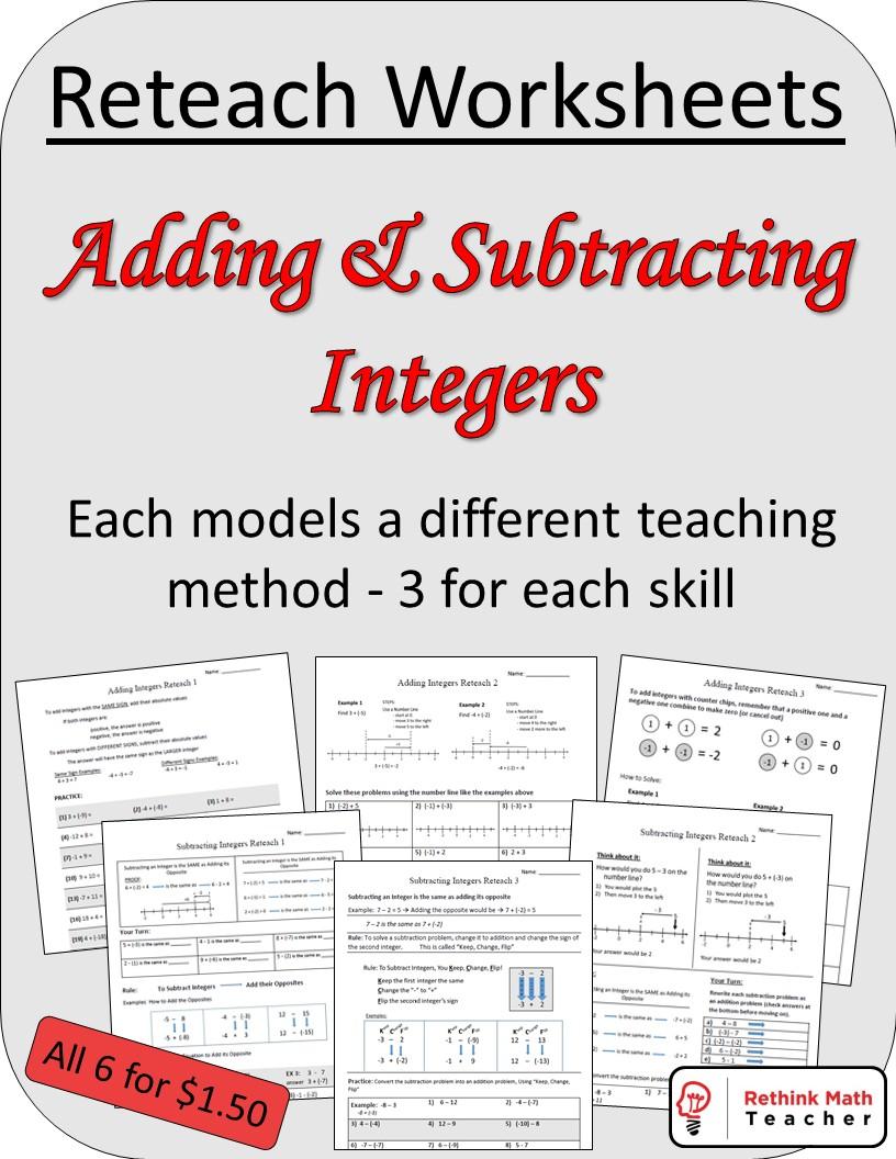 Reteach Adding And Subtracting Integers Worksheets - RETHINK Math Teacher