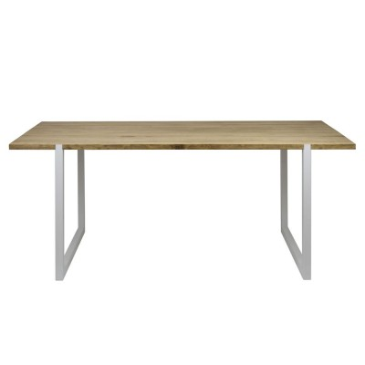 table salle a manger uley vintage industriel pied blanc 80x160x76cm