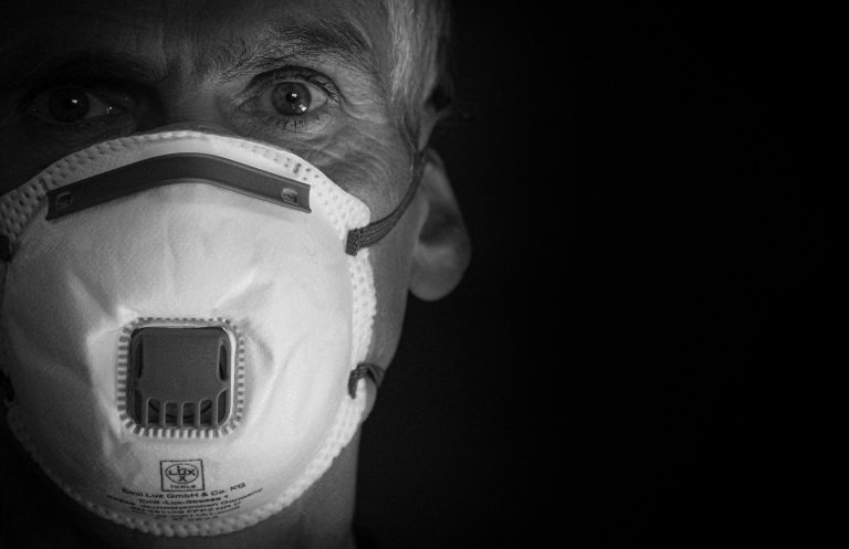 Man with COVID Mask