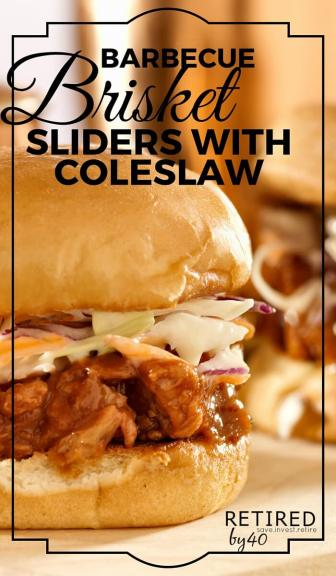 A sweet & tangy, messy barbecue brisket recipes that you can pair with slider buns and coleslaw for a delightfully southern treat.