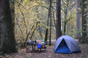 """Not our """"ridiculously good at camping"""" set up, but it works."""