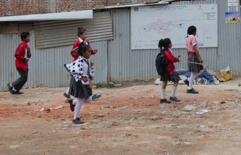 Kids off to school like normal