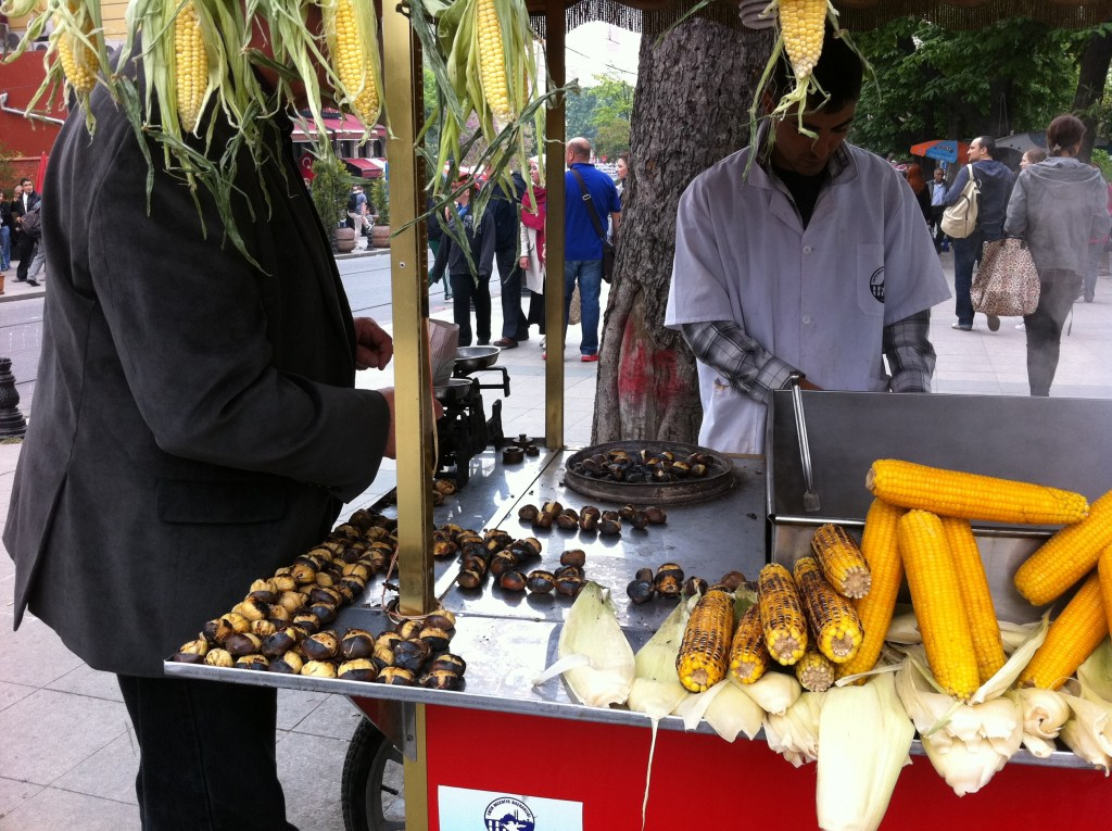 Street food: roasted chestnuts and corn!