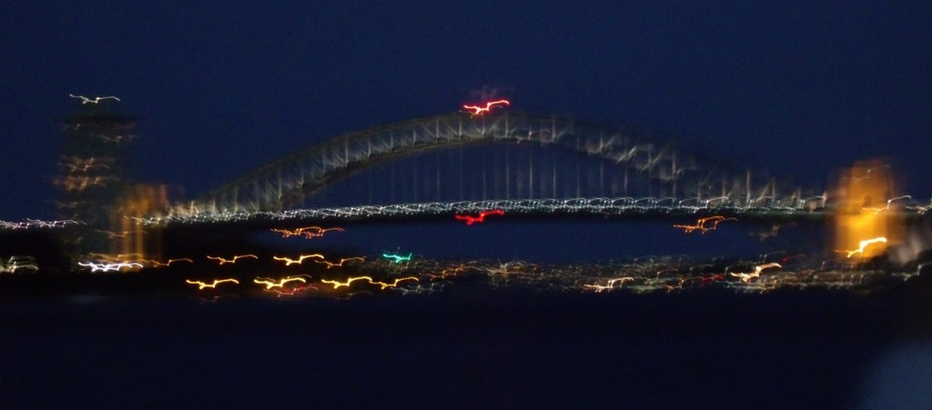 The Harbour Bridge from a speeding catamaran!
