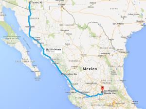 Tucson, AZ, USA to San Miguel de Allende, Guanajuato, Mexico - Google Maps