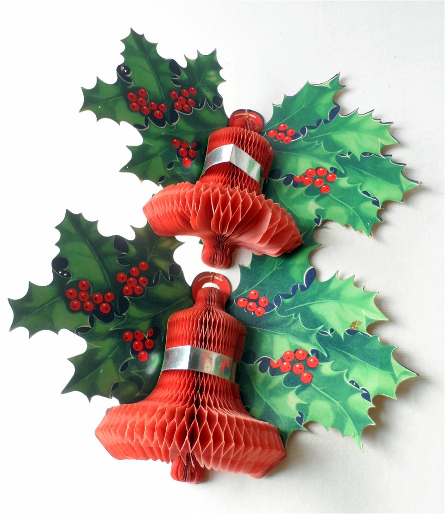 Pair Of Vintage Paper Card Honeycomb Bell Holly Wall Christmas