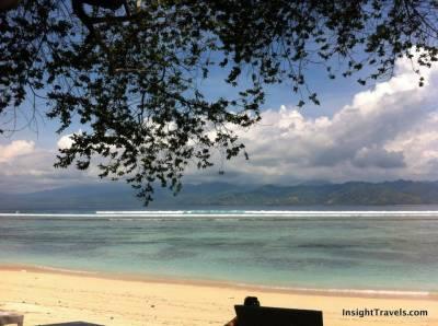 Looking back at Lombok from Gili Trawangan