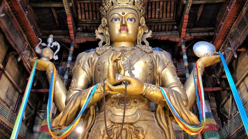 Chenrezig statue in Ulaanbaatar, Mongolia at Gandan temple