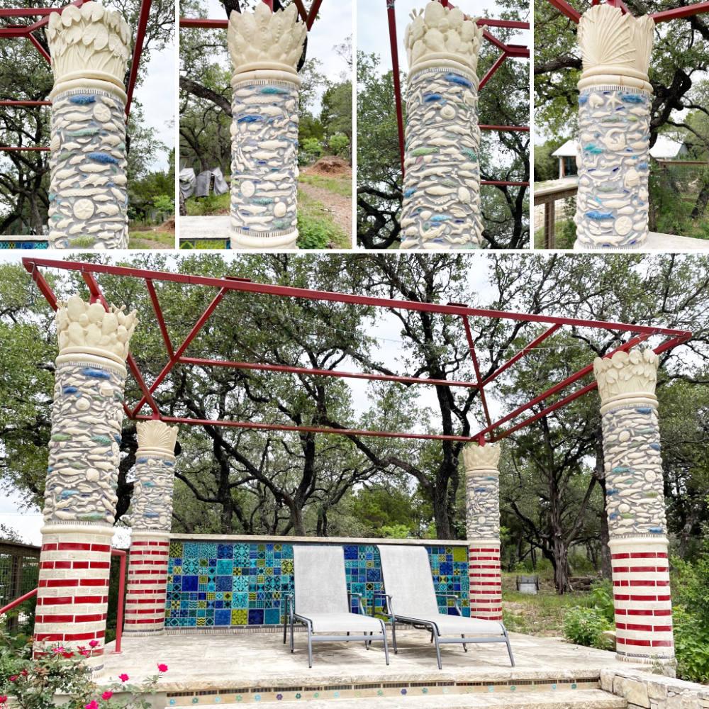 Claudia Reese Angkor Wat inspired tiled columns