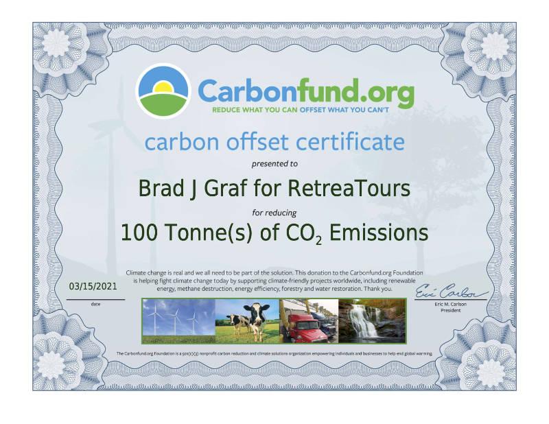 E-Certificate 2021 carbon offsets