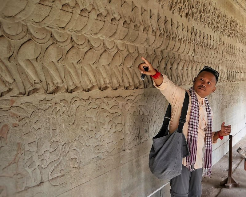 Churning of the Ocean of Milk bas relief at Angkor Wat