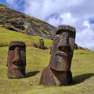Easter island moai heads
