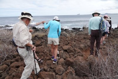There is one rocky section of path on the Isla Lobos excursion on the Galapagos.