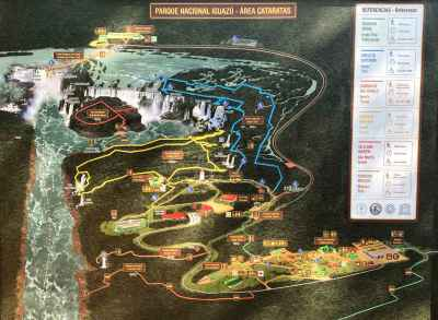 A map of the handicap wheelchair accessible paths at Iguazu Falls in Argentina.