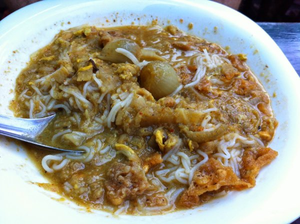 mohinga at Lucky 7 in Yangon, Myanmar (Burma)