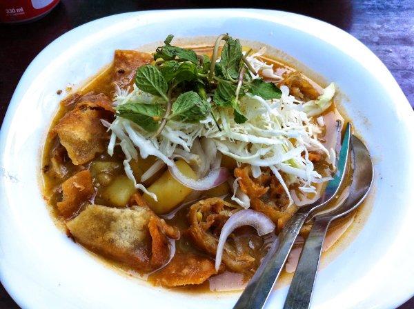 Samosa salad at Lucky 7 tea house in Yangon, Myanmar (Burma)