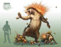 Artwork des Pokémon héricendre, typhlosion et Feurisson par Arvalis