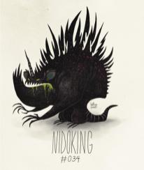 Fanart du Pokémon Nidoking avec le style de Tim Burton par HatBoy