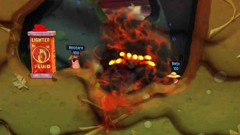 Attaque à la mine dans le jeu Worms Revolution collection sur XBox 360