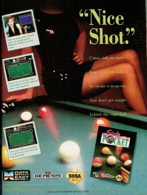 publicité papier pour jeu de billard side pocket avec femme en jupe